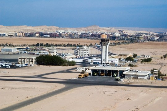 Hurghada airport with communication tower in Egypt Africa