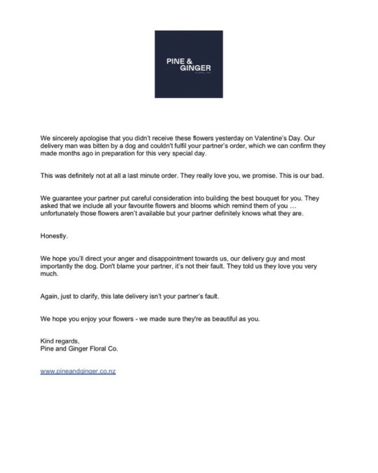 Pine & Ginger's false apology note