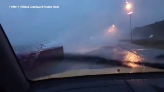 Coastguards post video showing the dangers of ignoring Storm Dennis road closures