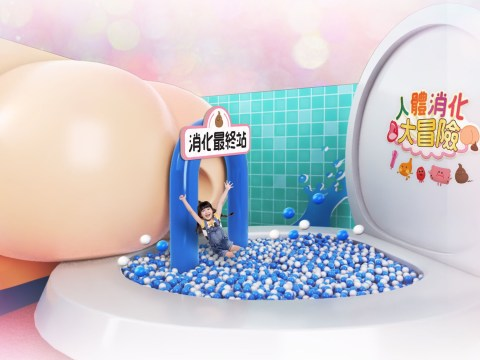Shoot through a bumhole into a toilet ball pit at this digestive system themed playground