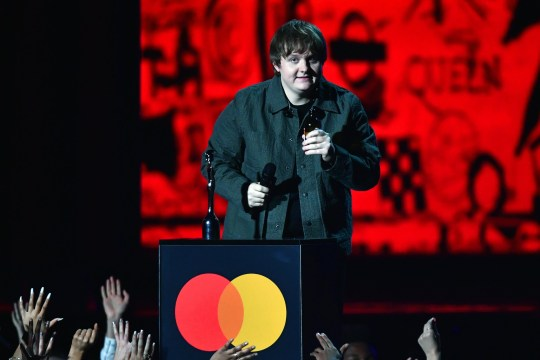 LONDON, ENGLAND - FEBRUARY 18: (EDITORIAL USE ONLY) Lewis Capaldi accepts the Best New Artist award during The BRIT Awards 2020 at The O2 Arena on February 18, 2020 in London, England. (Photo by Gareth Cattermole/Getty Images)