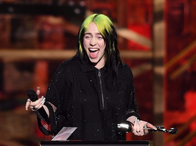 Billie Eilish wins inetrnational female solo artist at the Brit Awards at the 02 Arena, London, UK. 18/02/2020 Credit Photo (c)Karwai Tang For more information, please contact: Karwai Tang 07950 192531 karwai@karwaitang.com