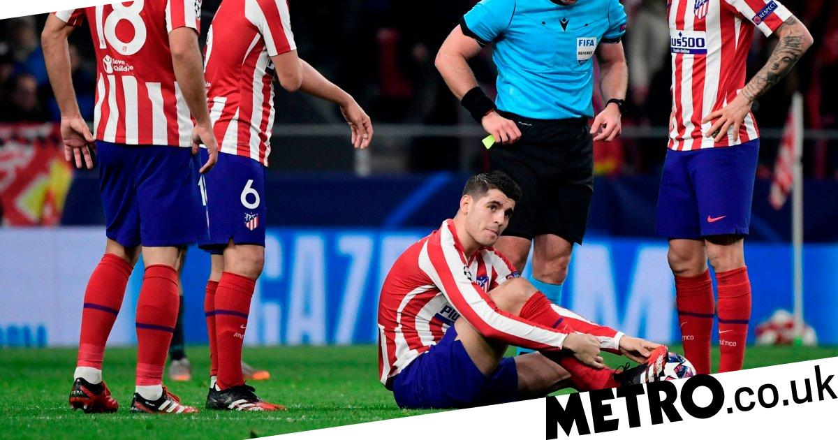 Alvaro Morata injures himself missing a sitter vs Liverpool