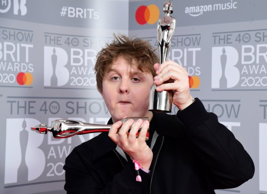 Lewis Capaldi in the press room at the 2020 Brit Awards