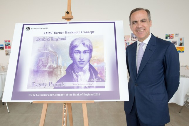 Embargoed to 0001 Thursday February 20 Undated handout photo issued by Turner Contemporary of Governor of the Bank of England Mark Carney, with a concept image for the new 20 pound bank note which will feature artist JMW Turner. The new banknote will start to appear in ATMs and tills from Thursday as it enters circulation. PA Photo. Issue date: Thursday February 20, 2020. The new polymer ?20 note will replace the paper ?20 note featuring economist Adam Smith and has been hailed by the Bank of England as its most secure banknote yet. See PA story MONEY Banknote. Photo credit should read: Anna Gordon/Turner Contemporary/PA Wire NOTE TO EDITORS: This handout photo may only be used in for editorial reporting purposes for the contemporaneous illustration of events, things or the people in the image or facts mentioned in the caption. Reuse of the picture may require further permission from the copyright holder.