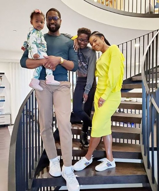 Dwyane Wade and Gabrielle Union with daughters Zaya and Kaavia