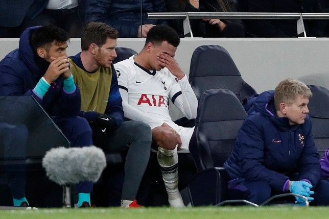 Tottenham Hotspur's English midfielder Dele Alli reacts after having been substituted off the pitch during the UEFA Champions League round of 16 first Leg football match between Tottenham Hotspur and RB Leipzig at the Tottenham Hotspur Stadium in north London, on February 19, 2020. (Photo by Adrian DENNIS / AFP) (Photo by ADRIAN DENNIS/AFP via Getty Images)