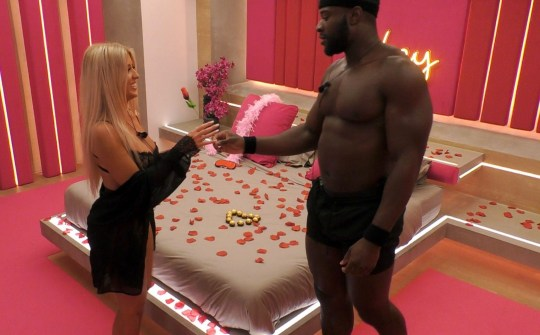 Editorial Use Only. No Merchandising. No Commercial Use Mandatory Credit: Photo by ITV/REX (10562239an) Jess Gale and Ched Uzo go to the hideaway 'Love Island' TV Show, Series 6, Episode 40, South Africa - 20 Feb 2020