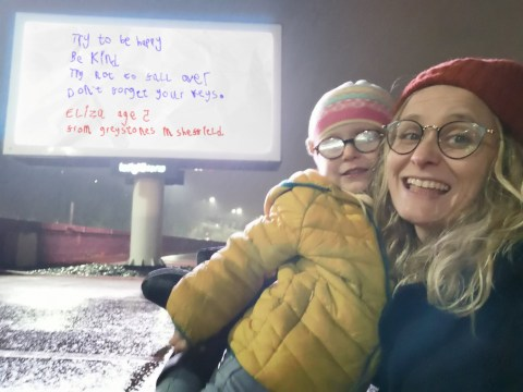 Little girl's note encouraging people to 'be kind' gets turned into roadside sign