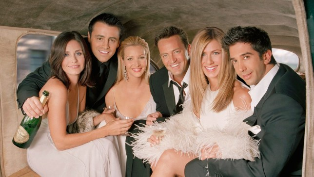 FRIENDS -- Season 10 -- Pictured: Courteney Cox as Monica Geller, Matt LeBlanc as Joey Tribbiani, Lisa Kudrow as Phoebe Buffay, Matthew Perry as Chandler Bing, Jennifer Aniston as Rachel Green, David Schwimmer as Dr. Ross Geller (Photo by NBC/NBCU Photo Bank via Getty Images)