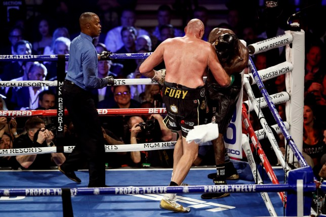 Tyson Fury of Britaincorners Deontay Wilder of the US as a towel is thrown in