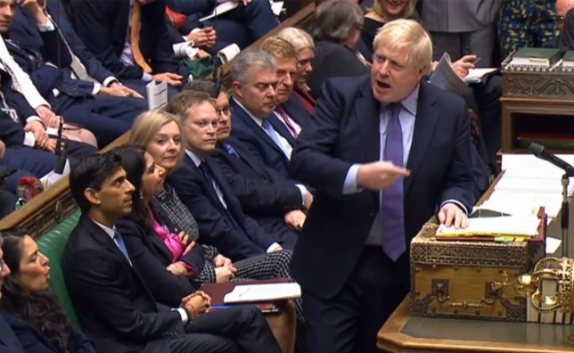 A video grab from footage broadcast by the UK Parliament's Parliamentary Recording Unit (PRU) shows Britain's Prime Minister Boris Johnson as he speaks during Prime Minister's Question time (PMQs) in the House of Commons in London on February 26, 2020. (Photo by - / various sources / AFP) / RESTRICTED TO EDITORIAL USE - MANDATORY CREDIT