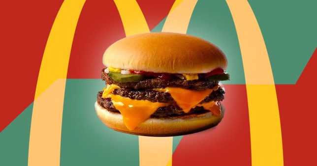 close up of triple cheeseburger on mcdonalds background