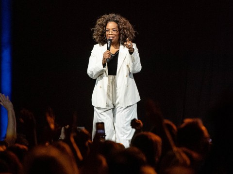 Oprah Winfrey takes a brutal tumble on stage during talk (which is ironically about balance)
