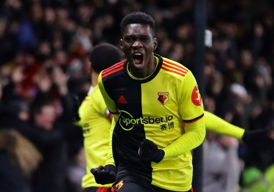 Ismaila Sarr celebrates scoring vs Liverpool