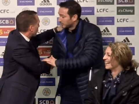 Frank Lampard interrupts Brendan Rodgers' press conference to say goodbye after Chelsea draw