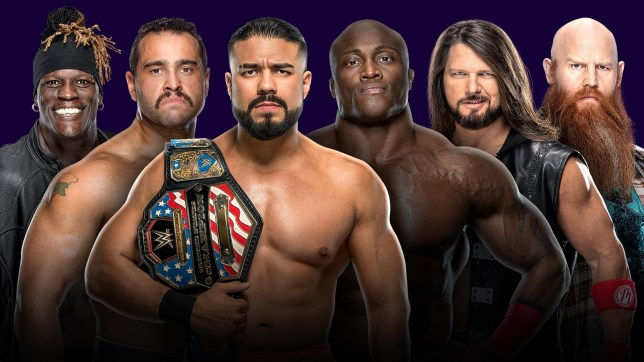WWE poster for Tuwaiq Trophy gauntlet match at Super ShowDown featuring R-Truth, Rusev, Andrade, Bobby Lashley, AJ Styles and Erick Rowan