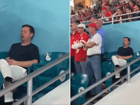 A man took a very expensive nap during the first quarter of the 2020 Super Bowl