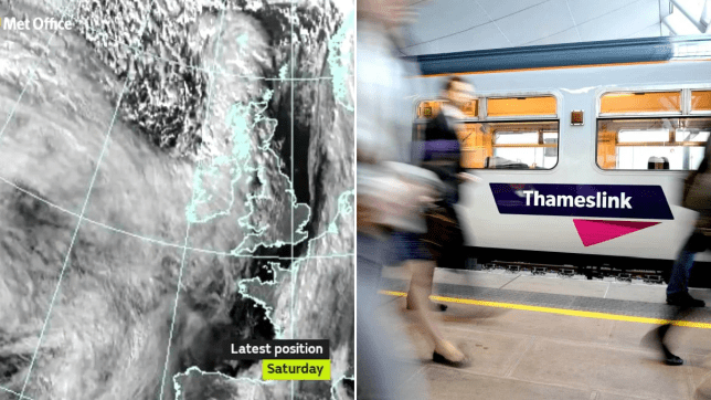 Met office warning ahead of Storm Ciara (left) and Thameslink train (right)