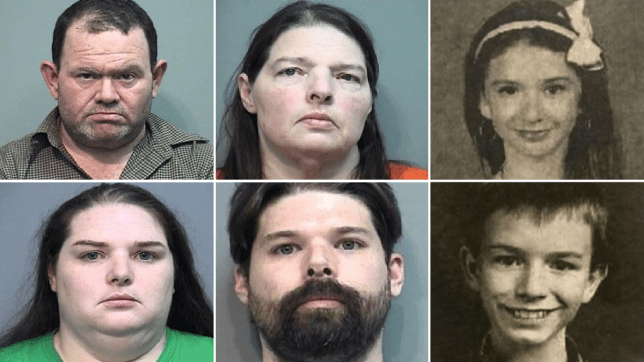 Elwyn Crocker (top left), Kim Wright (top center), Candice Crocker (bottom left), and Mark Wright (bottom center) are facing the death penalty for allegedly torturing and murdering Mary Crocker (top right) and her brother JR Crocker (bottom right)