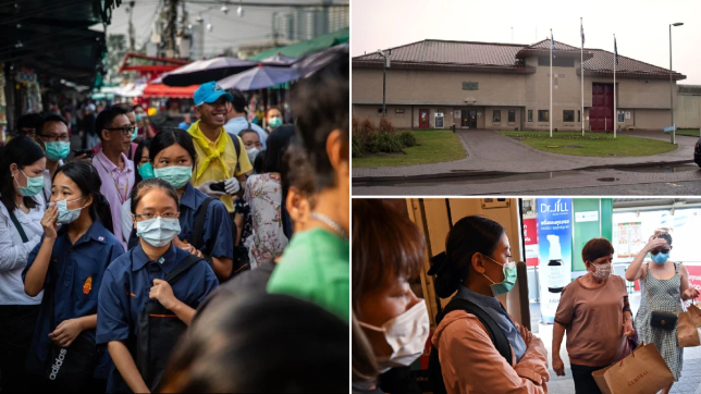 Images of HMP Bullingdon, Oxfordshire, and people wearing protective face masks in Bangkok, Thailand