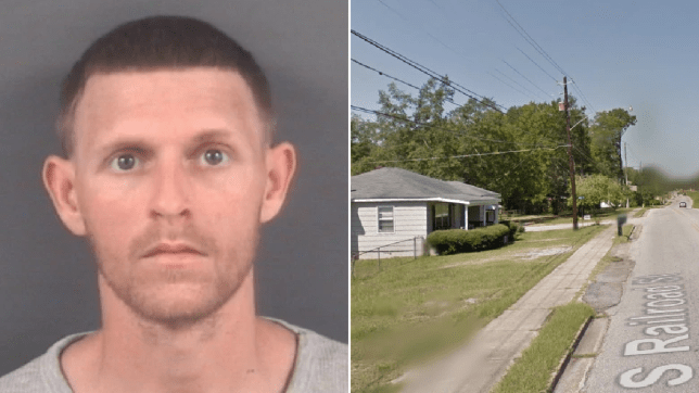 Mugshot of Ryan Tyndall next to file photo of street where he allegedly attacked his girlfriend