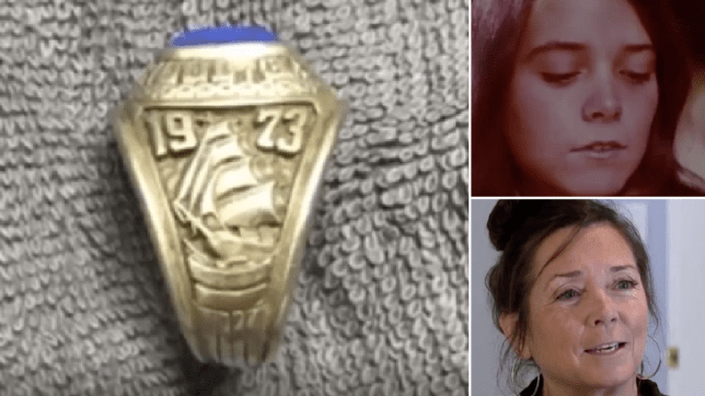 Photo of rediscovered ring next to old and new photo of Debra McKenna