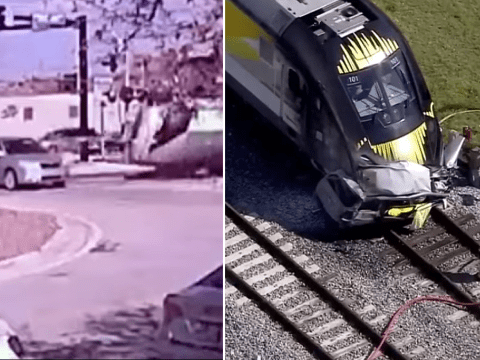 Horrific moment driver is killed after trying to beat speeding train at crossing