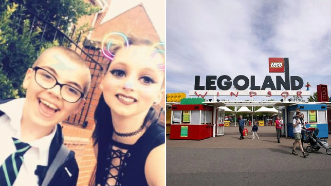Lauren Bond and her brother Ryan, from Hull, East Yorkshire (left) and picture of Legoland Windsor