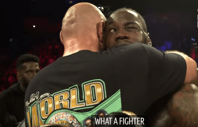 Tyson Fury and Deontay Wilder embrace after their heavyweight clash in Las Vegas