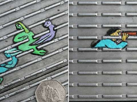 Man turns chewing gum on London streets into intricate works of art