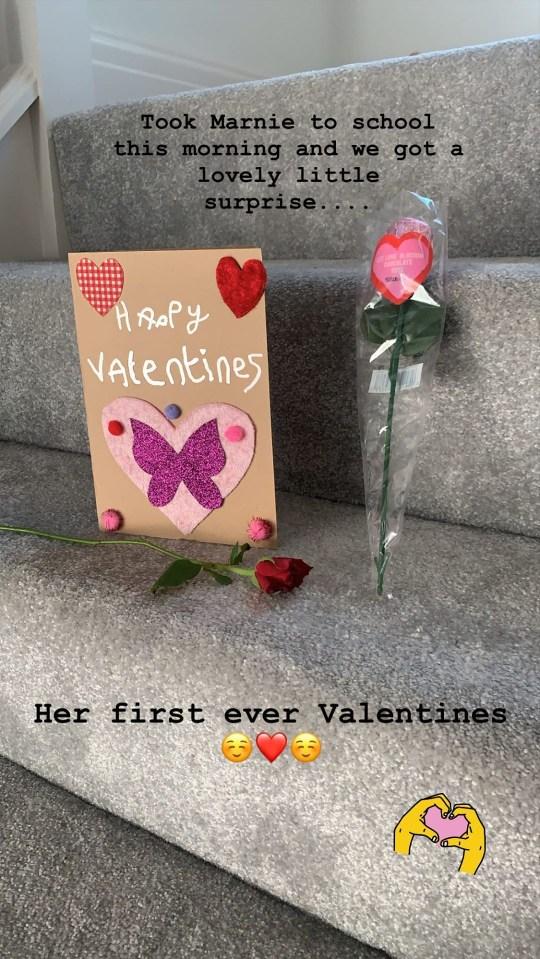 Kelvin Fletcher Valentine's card from daughter