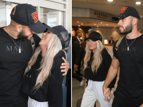 Love Island winners Paige Turley and Finley Tapp look totally smitten as they land in London