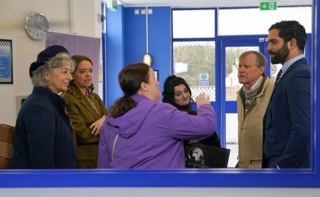 Evelyn, Mary, Nina, Roy and Imran in Coronation Street
