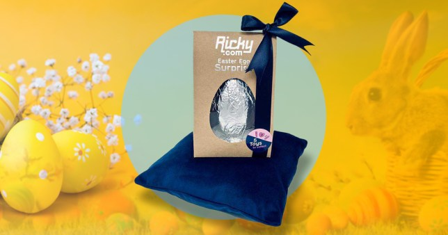 The chocolate Easter egg from Ricky.com inside the box with a blue silk bo on top and a yellow Easter background.