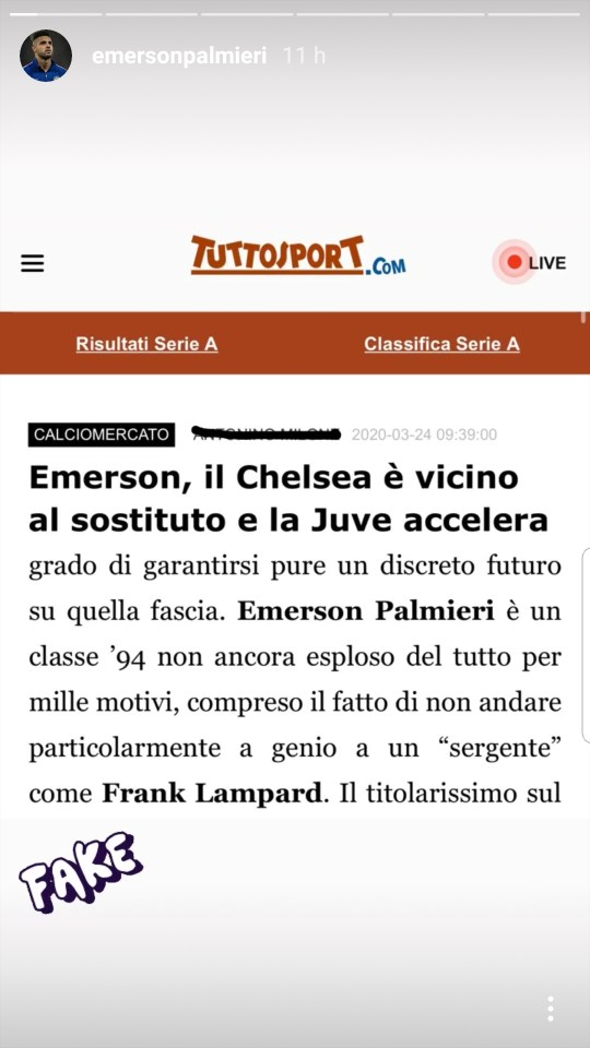 Emerson Palmieri responds to rumors that he plans to leave Chelsea because of Frank Lampard