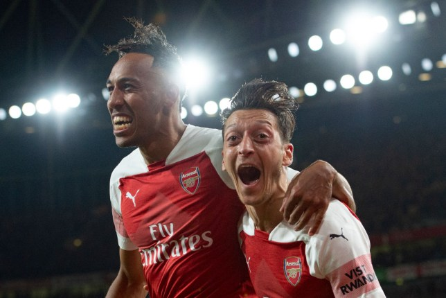 Arsenal stars Pierre-Emerick Aubameyang and Mesut Ozil