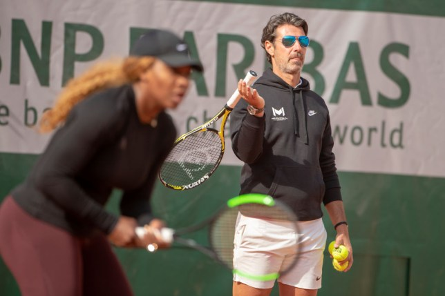 PARIS, FRANCE May 24. Serena Williams of the United States practicing on Court Philippe-Chatrier watched by coach Patrick Mouratoglou in preparation for the 2019 French Open Tennis Tournament at Roland Garros on May 24th 2019 in Paris, France. (Photo by Tim Clayton/Corbis via Getty Images)