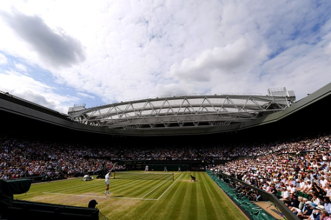 LONDON, ENGLAND - JULY 14: General view inside Centre Court in the Men's Singles final between Roger Federer of Switzerland and Novak Djokovic of Serbia during Day thirteen of The Championships - Wimbledon 2019 at All England Lawn Tennis and Croquet Club on July 14, 2019 in London, England. (Photo by Matthias Hangst/Getty Images)