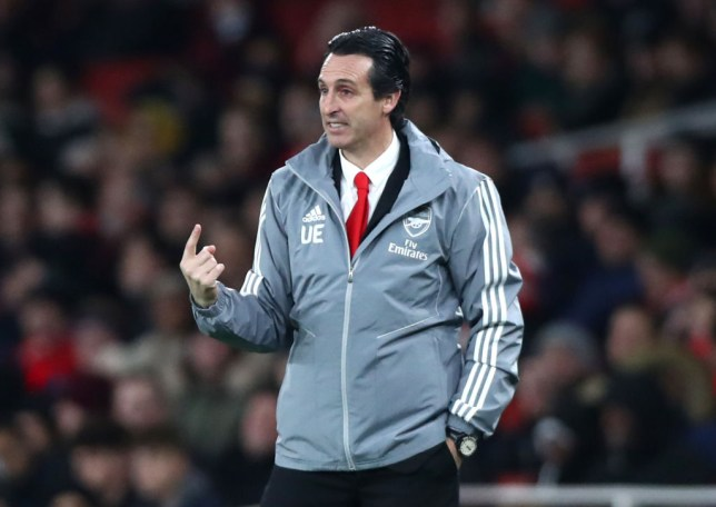 Unai Emery during Arsenal's Europa League match with Eintracht Frankfurt at the Emirates Stadium