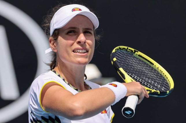 Britain's Johanna Konta reacts after a point against Tunisia's Ons Jabeur during their women's singles match on day two of the Australian Open tennis tournament in Melbourne on January 21, 2020. (Photo by DAVID GRAY / AFP) / IMAGE RESTRICTED TO EDITORIAL USE - STRICTLY NO COMMERCIAL USE (Photo by DAVID GRAY/AFP via Getty Images)