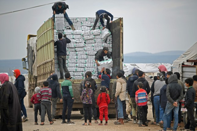 Humanitarian aid being distributed in Syria