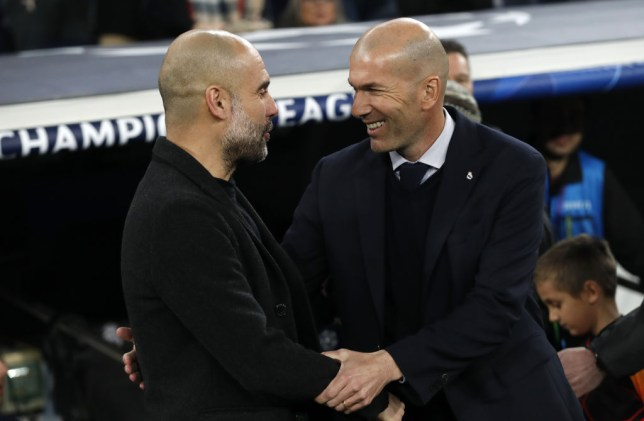 Pep Guardiola and Zinedine Zidane shake hands ahead of Manchester City's Champions League clash with Real Madrid