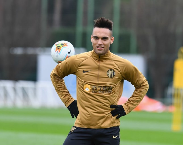 Lautaro Martinez during Inter Milan training