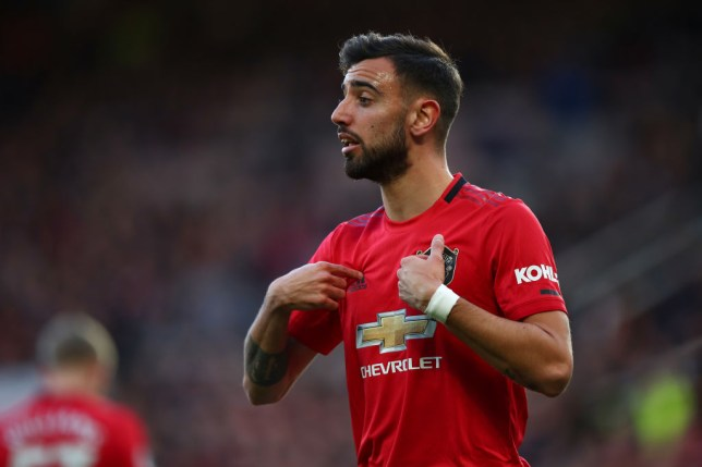 MANCHESTER, ENGLAND - MARCH 08: Bruno Fernandes of Manchester United during the Premier League match between Manchester United and Manchester City at Old Trafford on March 8, 2020 in Manchester, United Kingdom. (Photo by Robbie Jay Barratt - AMA/Getty Images)