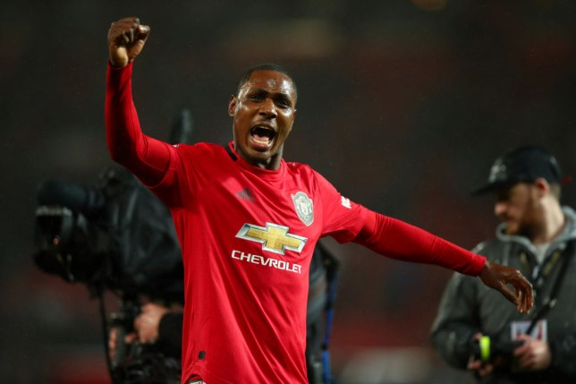 MANCHESTER, ENGLAND - MARCH 08: Odion Ighalo of Manchester United celebrates the 2-0 victory during the Premier League match between Manchester United and Manchester City at Old Trafford on March 8, 2020 in Manchester, United Kingdom. (Photo by Robbie Jay Barratt - AMA/Getty Images)