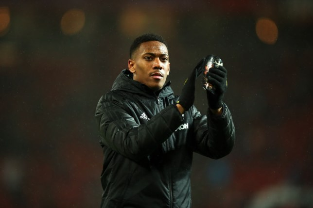 MANCHESTER, ENGLAND - MARCH 08: Anthony Martial of Manchester United applauds the fans at full time during the Premier League match between Manchester United and Manchester City at Old Trafford on March 8, 2020 in Manchester, United Kingdom. (Photo by Robbie Jay Barratt - AMA/Getty Images)