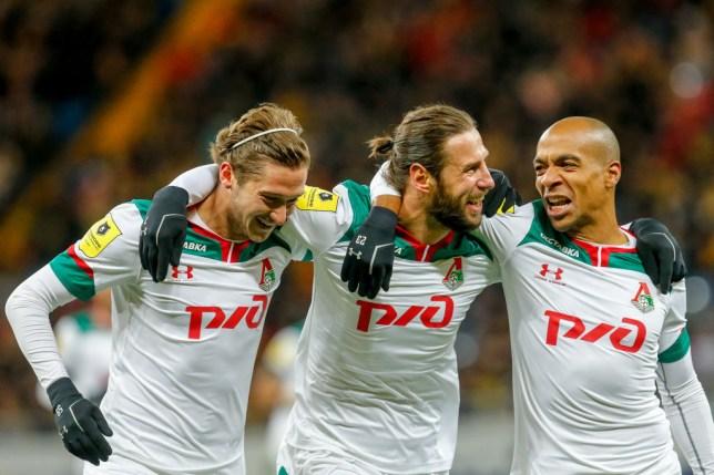 Lokomotiv Moscow's Alexei Miranchuk, Grzegorz Krychowiak, and Joao Mario