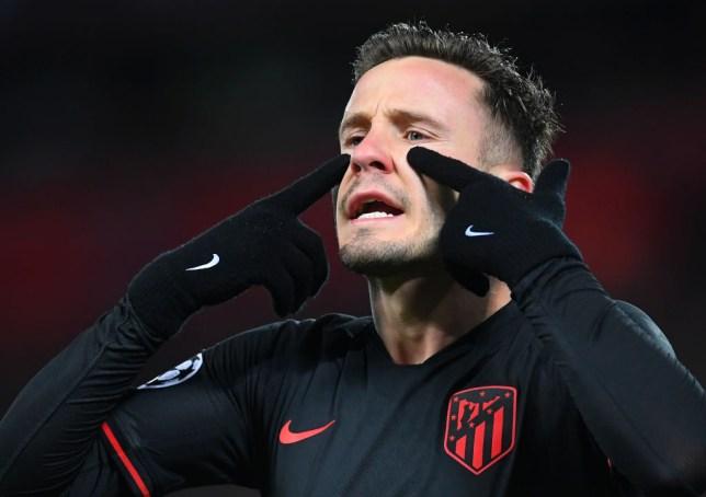 Saul Niguez gestures to his Atletico Madrid team-mates