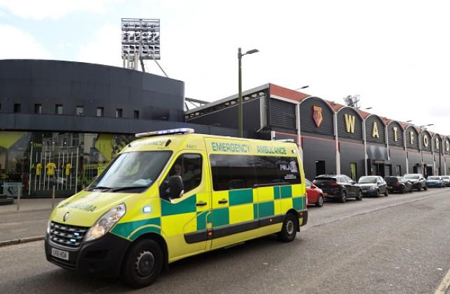 An ambulance passes outside Vicarage Road, home of Watford FC